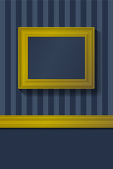 Empty golden picture frame on a striped wallpaper