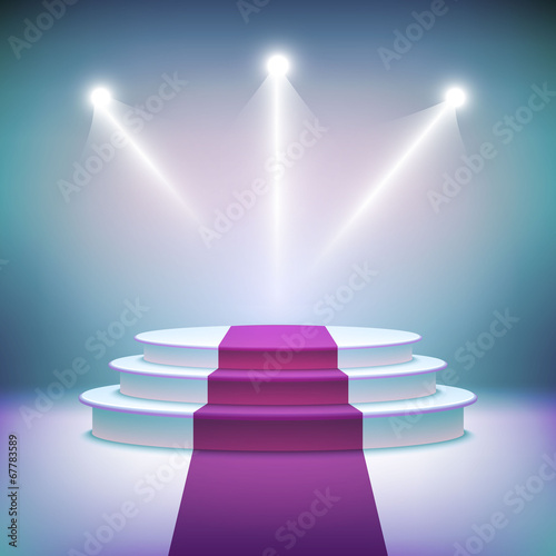 Illuminated stage podium for award ceremony vector - 67783589
