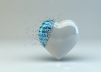 Digitally Broken Heart In White