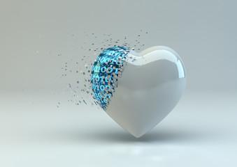Digitally Broken Heart In White