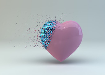 Digitally Broken Heart In Pink