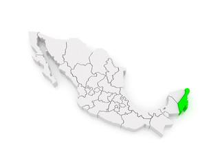 Map of Quintana Roo. Mexico.