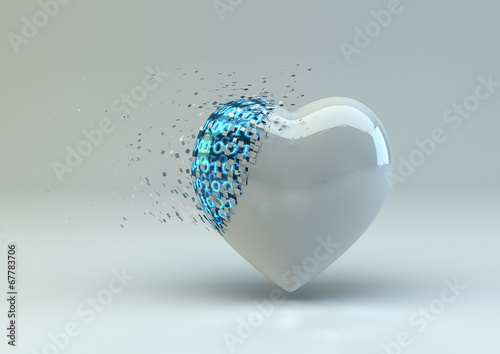 canvas print picture Digitally Broken Heart In White