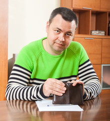 frustrated man at  table with   wallet