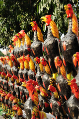Rooster statues, Thailand