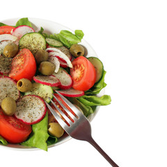 fresh vegetable salad with copy space