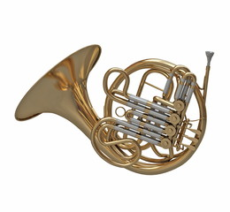 French horn instrument isolated