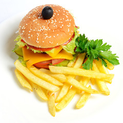 Hamburger with a potato fries
