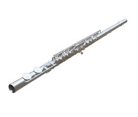 Concert flute instrument isolated