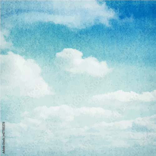 Fototapeta Watercolor clouds and sky background