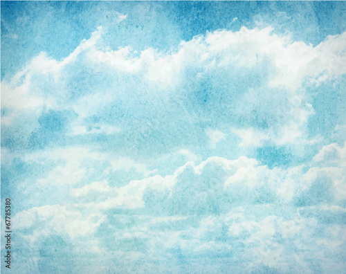 Watercolor clouds and sky background - 67785380