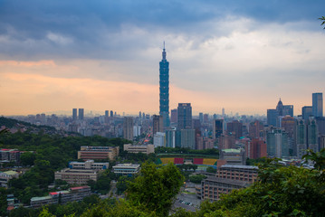 skyline of taipei city by the sunset