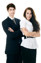 The businessman in business suit and businesswoman