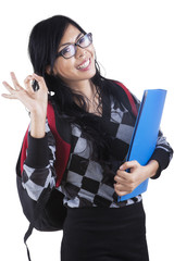 Cheerful asian student isolated