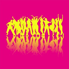 Yellow dancing silhouettes isolated on magenta background