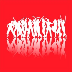 White dancing silhouettes isolated on red background