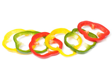 three colours bell pepper cuts