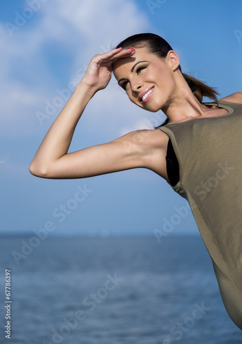 canvas print picture Beautiful woman on a yacht at summer.