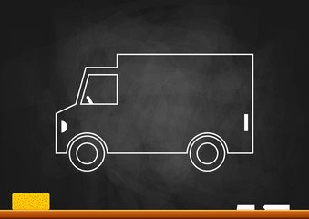 Delivery van on blackboard
