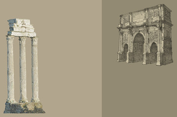 Rome view illustration