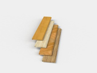 Set of wooden laminated construction planks isolated on white
