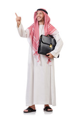 Arab businessman  with briefcase  pressing virtual buttons isola