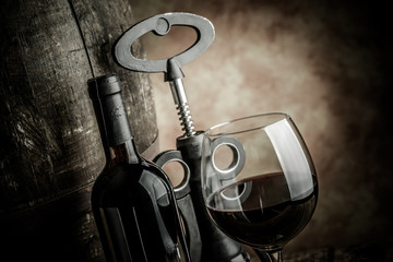 wine glass bottle and barrel