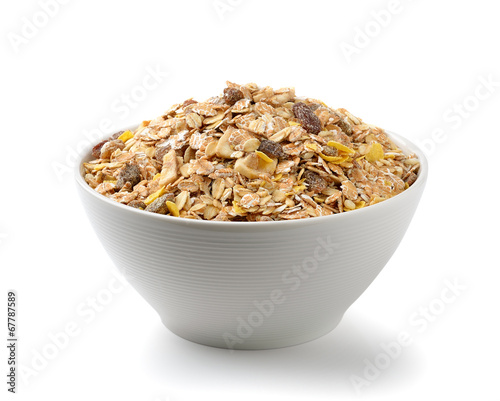 Fotobehang Aromatische muesli breakfast placed on white background