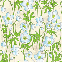 Seamless background with anemones