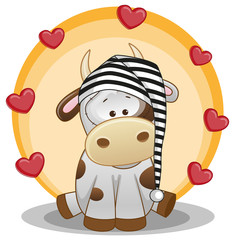 Cow with hearts