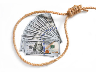Paper money fan in a noose