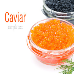 red caviar in a glass jar, isolated