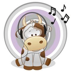 Cow with headphones