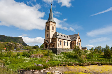 Church on lofoten islands, Norway.