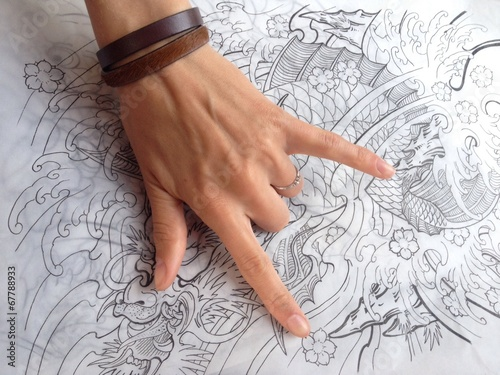 sign of the horns with tattoo sketch