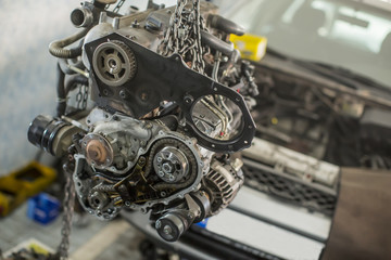 Car engine in the service