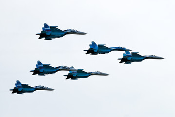 Six airplanes SU-27