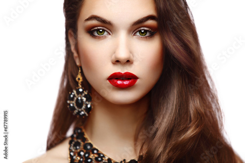 Beauty Model Woman with Long Brown Wavy Hair