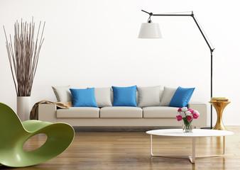 Contemporary fresh living room with a grey sofa