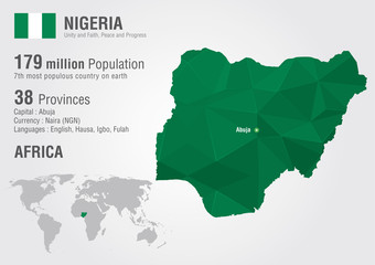 Nigeria world map with a pixel diamond texture.