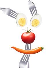 Smiley aus gesunden Nahrungsmitteln