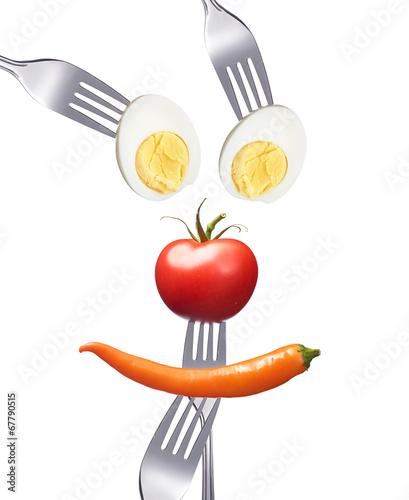 canvas print picture Smiley aus gesunden Nahrungsmitteln
