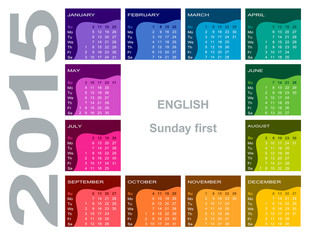 Colorful calendar 2015 - English (Sunday first)
