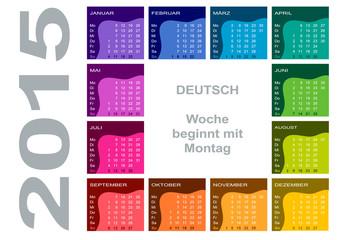 Jahreskalender 2015 (deutsch, Woche beginnt mir Montag)