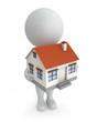 3d cute people- house sale