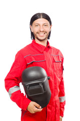 Welder in red overalls isolated on white