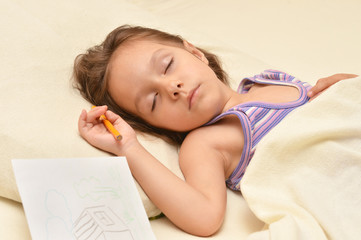 Charming little girl sleeping