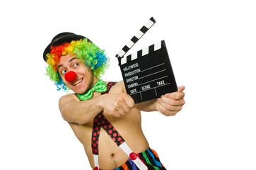 Clown with movie board on white