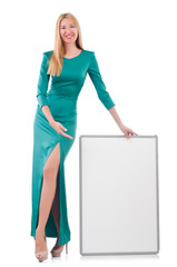 Woman in green dress with blank board