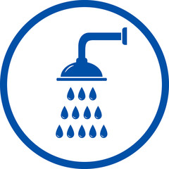 blue sign with shower head
